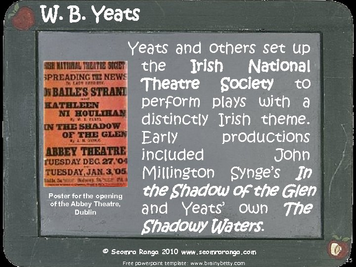 W. B. Yeats and others set up the Irish National Theatre Society to perform