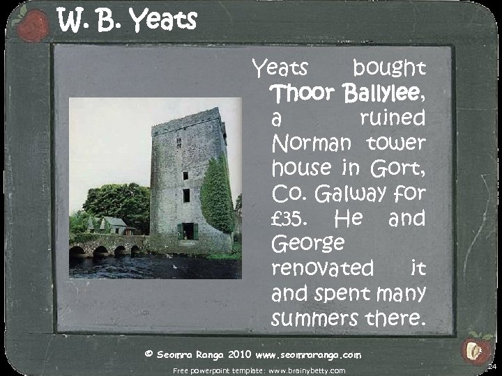 W. B. Yeats bought Thoor Ballylee, a ruined Norman tower house in Gort, Co.