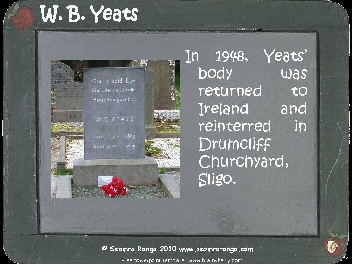 W. B. Yeats In 1948, Yeats' body was returned to Ireland reinterred in Drumcliff