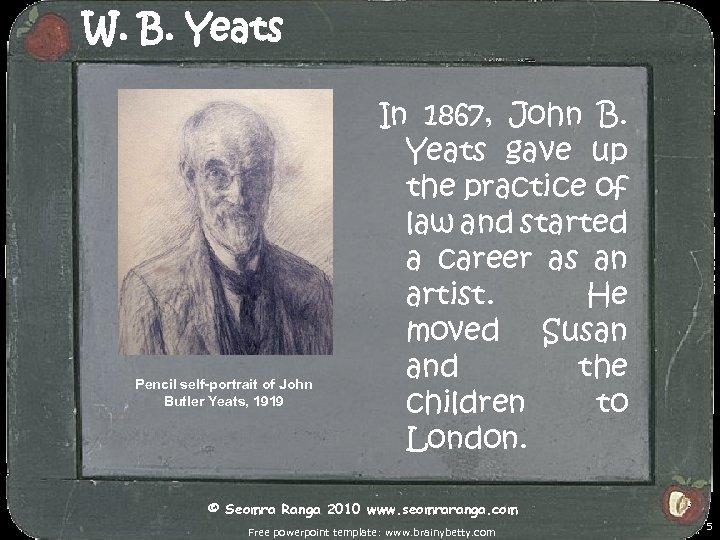 W. B. Yeats Pencil self-portrait of John Butler Yeats, 1919 In 1867, John B.