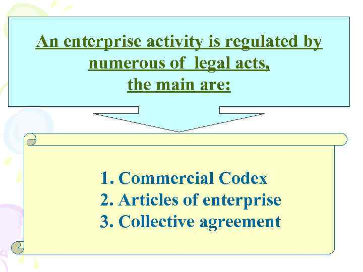 An enterprise activity is regulated by numerous of legal acts, the main are: 1.