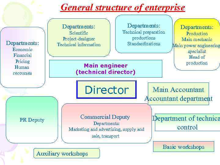 General structure of enterprise Departments: Economic Financial Pricing Human recourses Scientific Project-designer Technical information