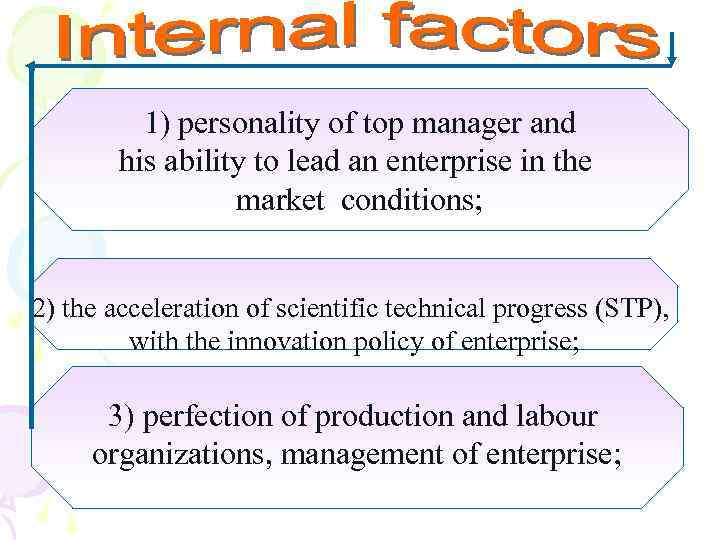 1) personality of top manager and his ability to lead an enterprise in the