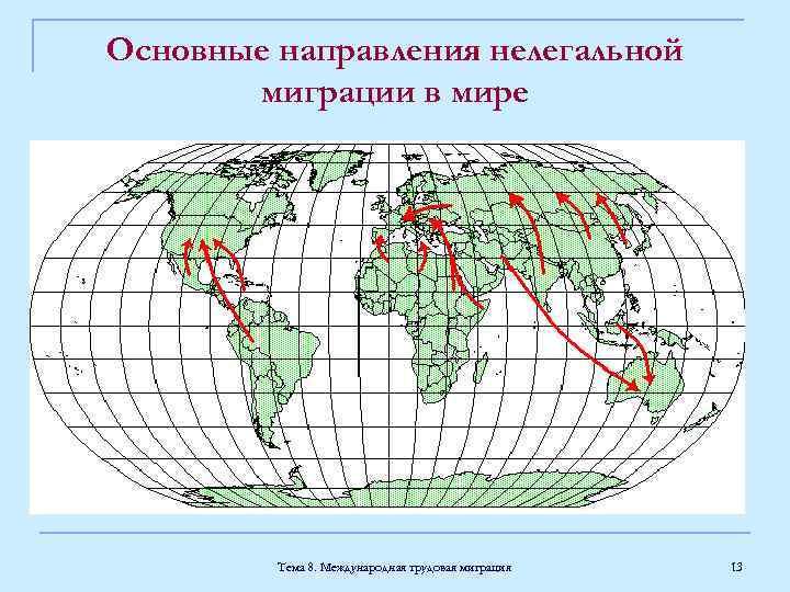 Основные направления нелегальной миграции в мире Тема 8. Международная трудовая миграция 13