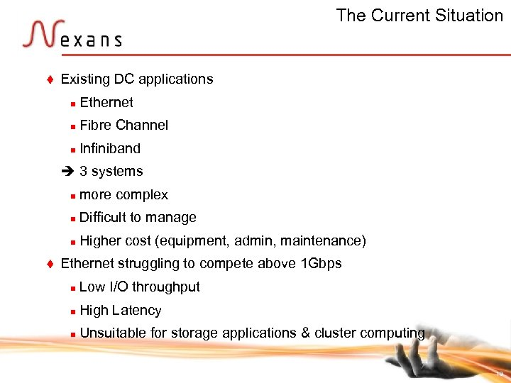 The Current Situation t Existing DC applications n Ethernet n Fibre Channel n Infiniband