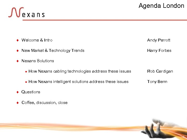 Agenda London t Welcome & Intro Andy Perrott t New Market & Technology Trends