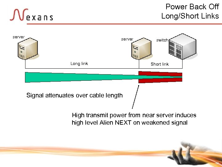 Power Back Off Long/Short Links server Long link switch Short link Signal attenuates over