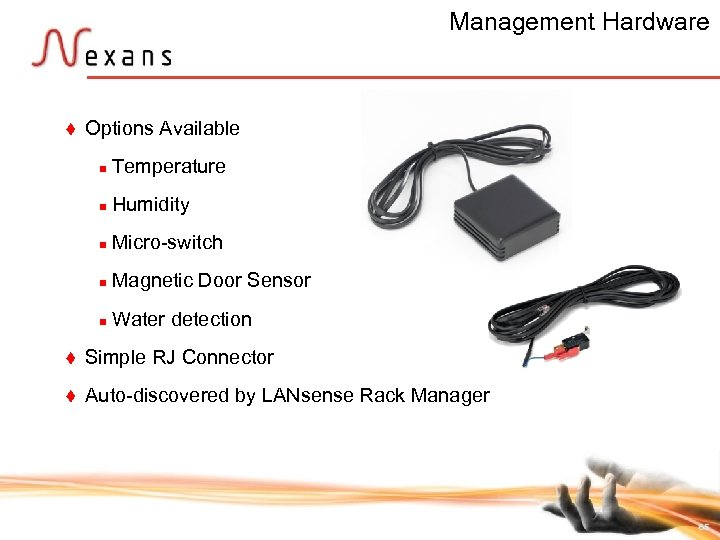 Management Hardware t Options Available n Temperature n Humidity n Micro-switch n Magnetic Door