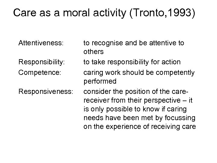 Care as a moral activity (Tronto, 1993) Attentiveness: Responsibility: Competence: Responsiveness: to recognise and