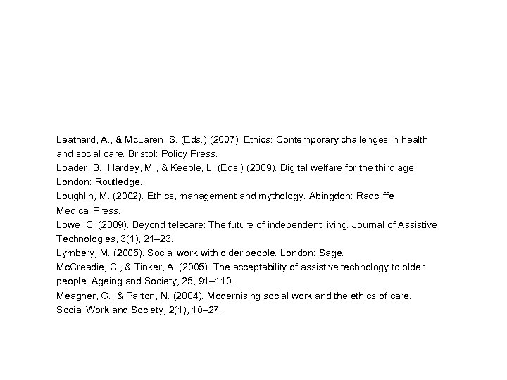 Leathard, A. , & Mc. Laren, S. (Eds. ) (2007). Ethics: Contemporary challenges in