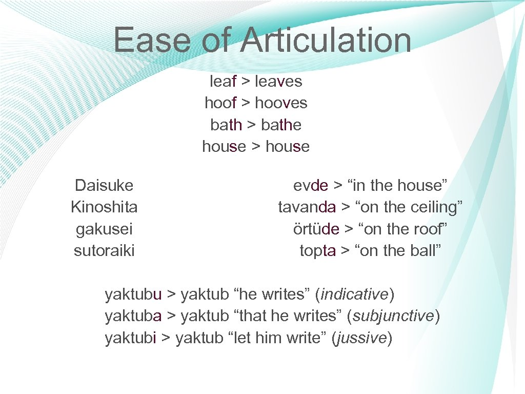 Ease of Articulation leaf > leaves hoof > hooves bath > bathe house >