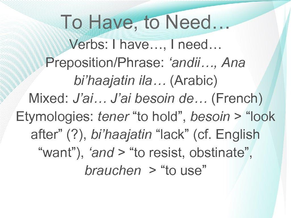 To Have, to Need… Verbs: I have…, I need… Preposition/Phrase: 'andii…, Ana bi'haajatin ila…