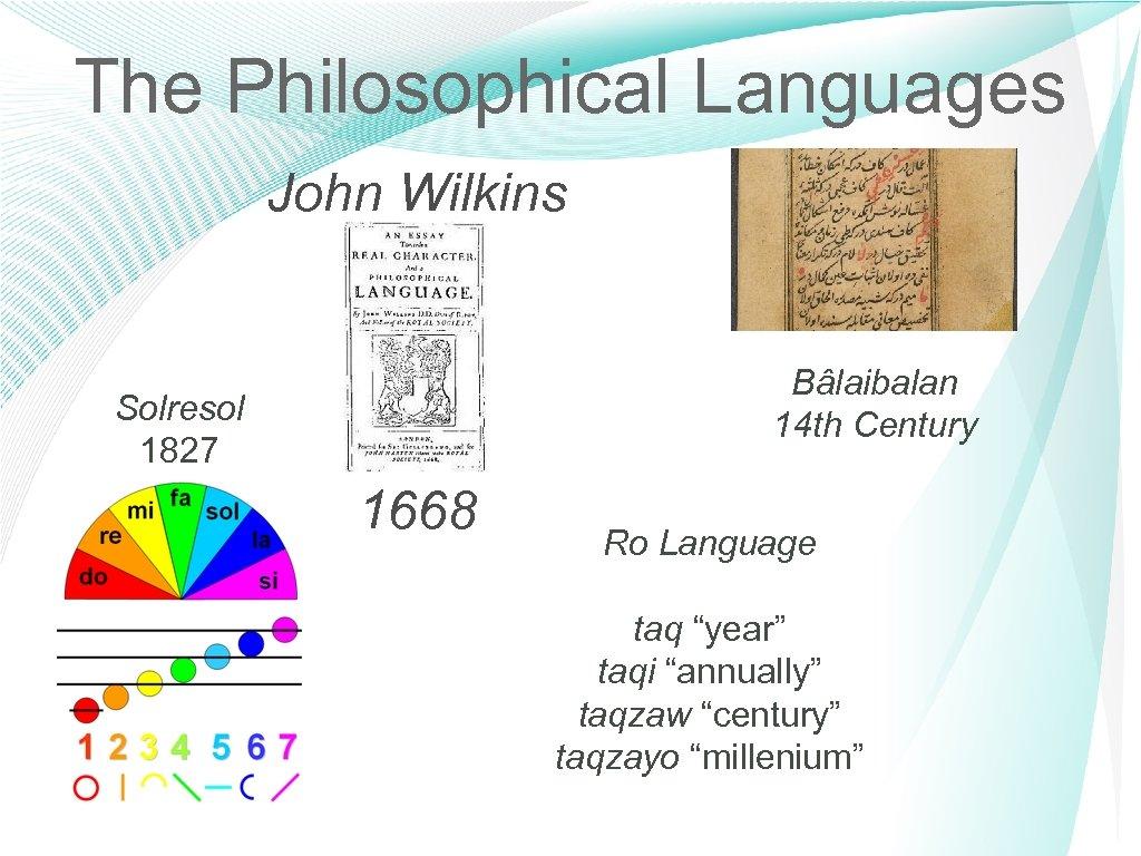 The Philosophical Languages John Wilkins Bâlaibalan 14 th Century Solresol 1827 1668 Ro Language