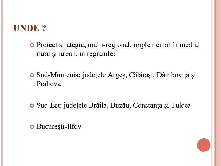 UNDE ? Proiect strategic, multi-regional, implementat în mediul rural și urban, în regiunile: Sud-Muntenia:
