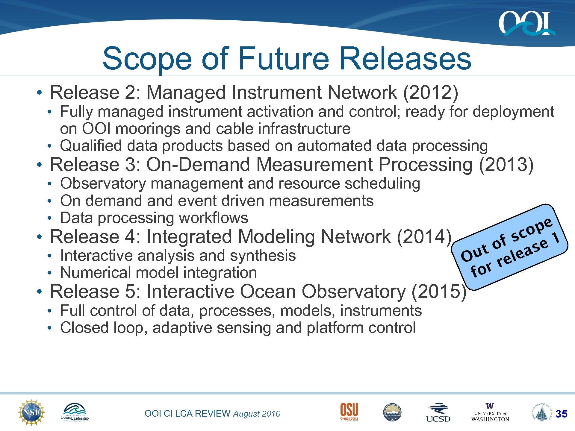 Scope of Future Releases • Release 2: Managed Instrument Network (2012) • Fully managed