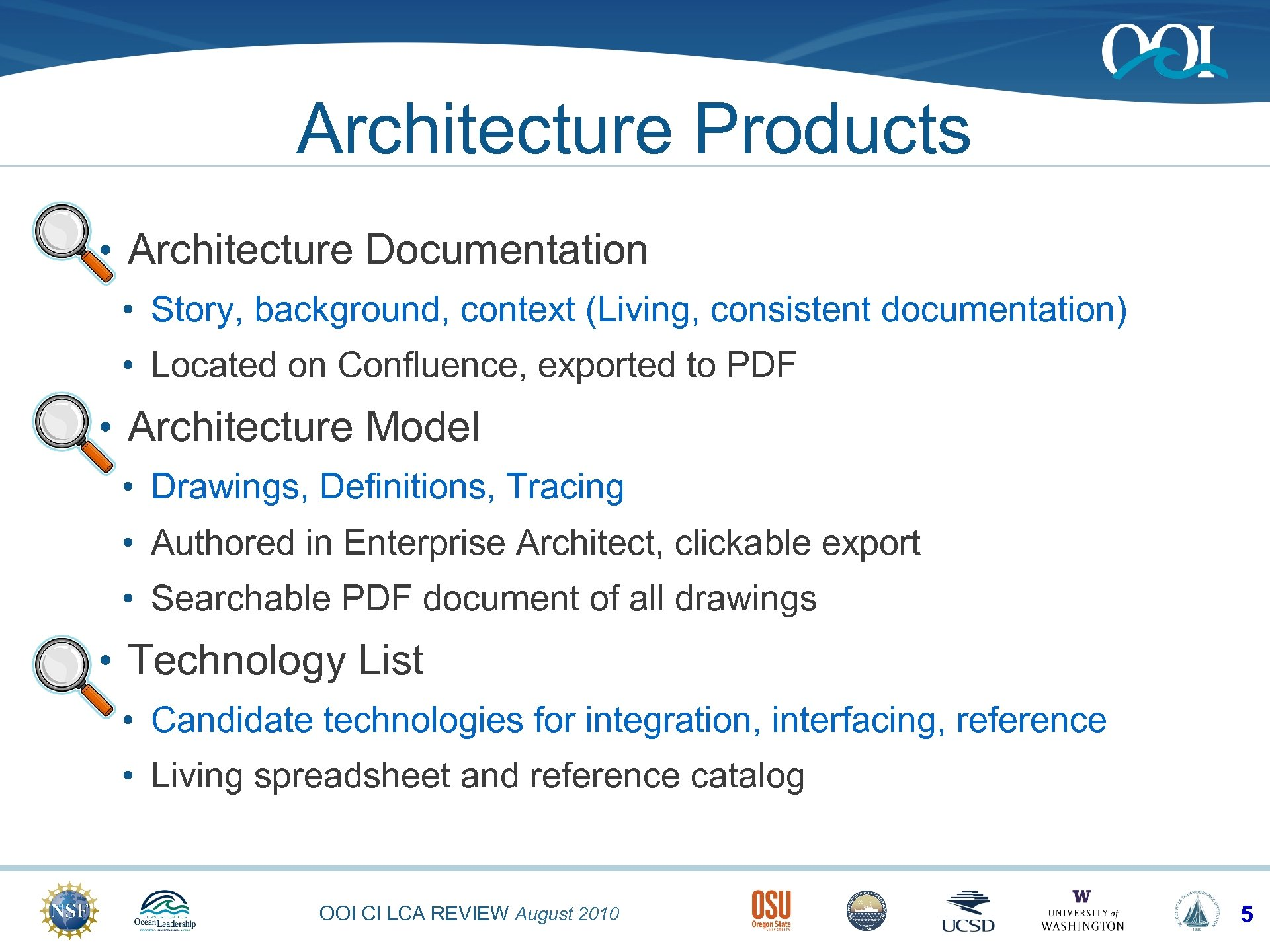 Architecture Products • Architecture Documentation • Story, background, context (Living, consistent documentation) • Located