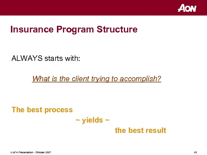 Insurance Program Structure ALWAYS starts with: What is the client trying to accomplish? The