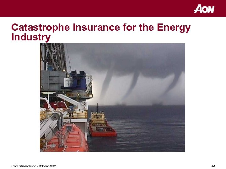 Catastrophe Insurance for the Energy Industry U of H Presentation - October 2007 44