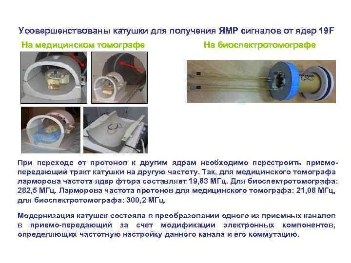 Усовершенствованы катушки для получения ЯМР сигналов от ядер 19 F На медицинском томографе На