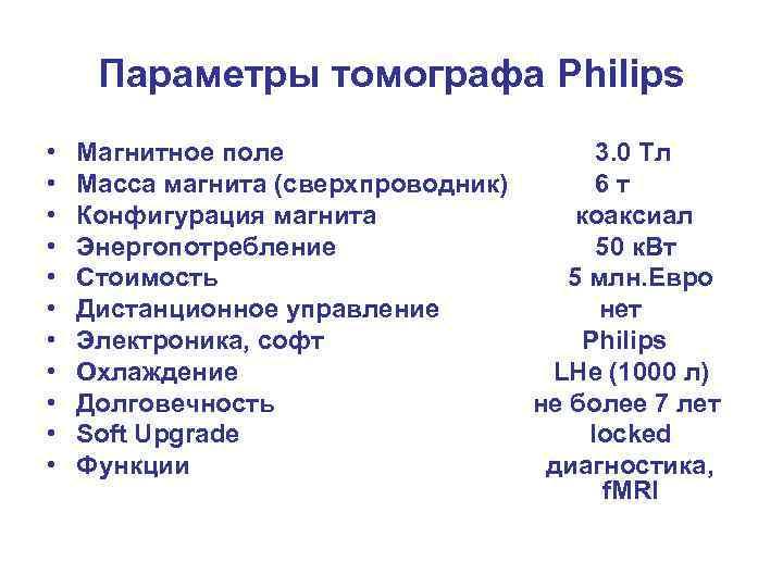 Параметры томографа Philips • • • Магнитное поле 3. 0 Тл Масса магнита (сверхпроводник)