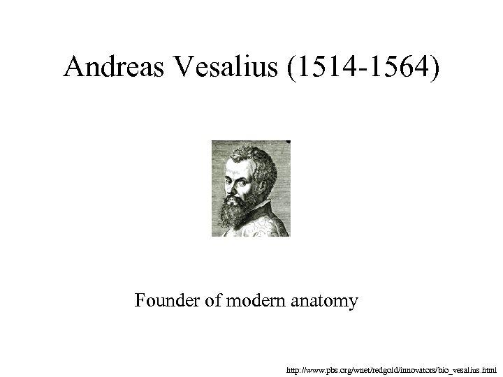 Andreas Vesalius (1514 -1564) Founder of modern anatomy http: //www. pbs. org/wnet/redgold/innovators/bio_vesalius. html