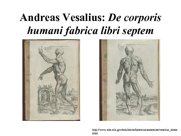 Andreas Vesalius: De corporis humani fabrica libri septem http: //www. nlm. nih. gov/exhibition/historicalanatomies/vesalius_home. html