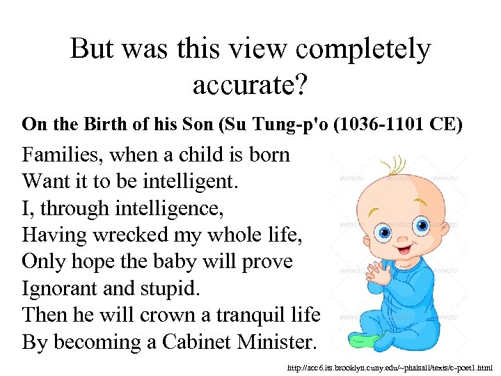 But was this view completely accurate? On the Birth of his Son (Su Tung-p'o