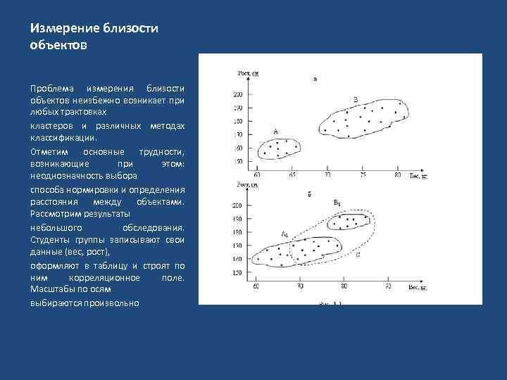 Измерение близости объектов Проблема измерения близости объектов неизбежно возникает при любых трактовках кластеров и