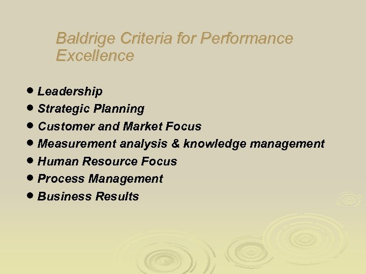 Baldrige Criteria for Performance Excellence · Leadership · Strategic Planning · Customer and Market