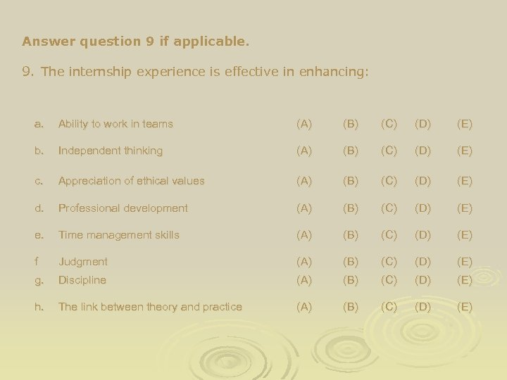 Answer question 9 if applicable. 9. The internship experience is effective in enhancing: a.