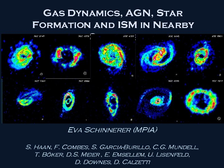 Gas Dynamics, AGN, Star Formation and ISM in Nearby Galaxies Eva Schinnerer (MPIA) S.