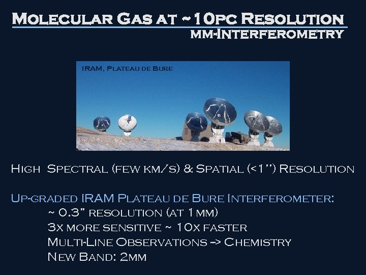 Molecular Gas at ~10 pc Resolution mm-Interferometry IRAM, Plateau de Bure High Spectral (few