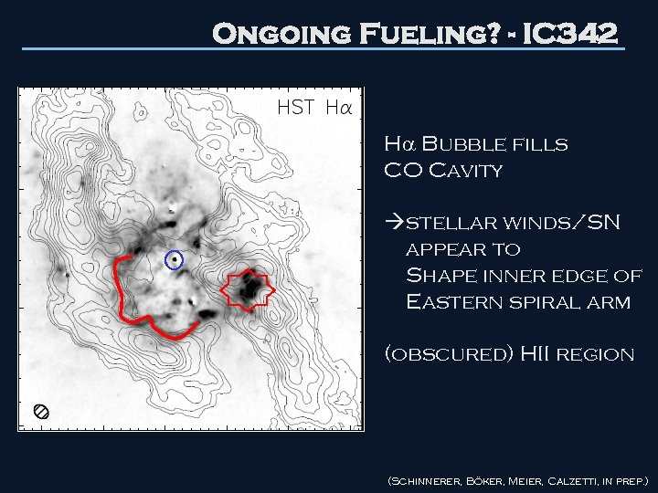 Ongoing Fueling? - IC 342 H Bubble fills CO Cavity stellar winds/SN appear to