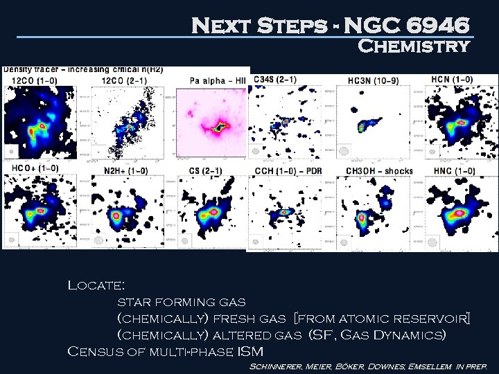 Next Steps - NGC 6946 Chemistry Locate: star forming gas (chemically) fresh gas [from