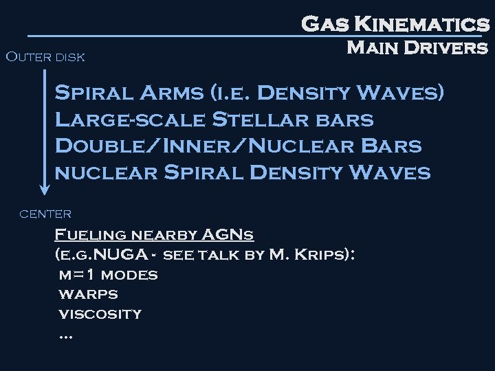 Gas Kinematics Outer disk Main Drivers Spiral Arms (i. e. Density Waves) Large-scale Stellar