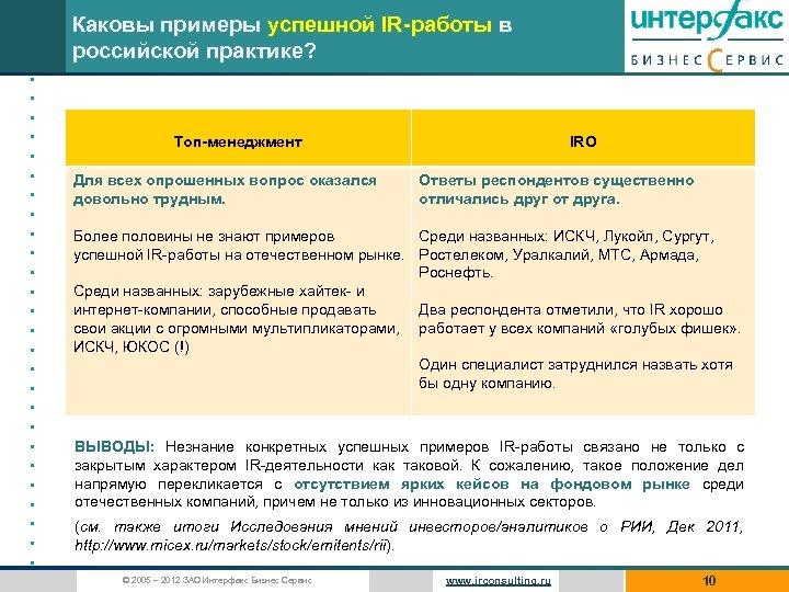 Каковы примеры успешной IR-работы в российской практике? • • • • • • •