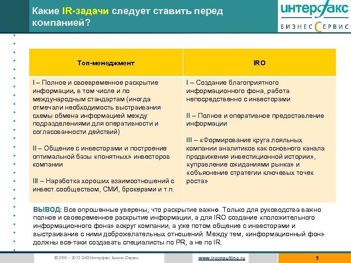 Какие IR-задачи следует ставить перед компанией? • • • • • • • Топ-менеджмент