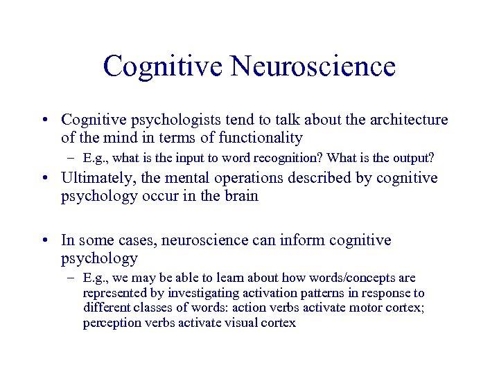 Brain Psycholinguistics Cognitive Science Outline