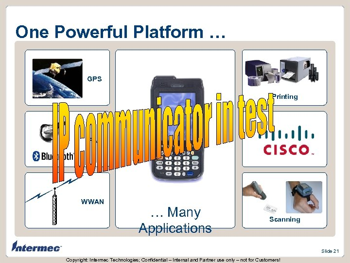One Powerful Platform … GPS Printing PAN WWAN … Many Applications Scanning Slide 21
