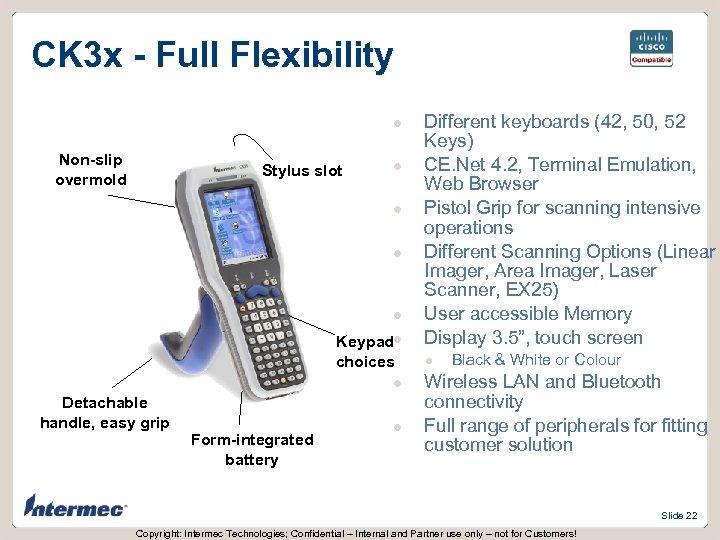 CK 3 x - Full Flexibility l Non-slip overmold Stylus slot l l Keypadl