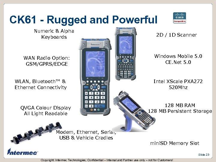CK 61 - Rugged and Powerful Numeric & Alpha Keyboards WAN Radio Option: GSM/GPRS/EDGE