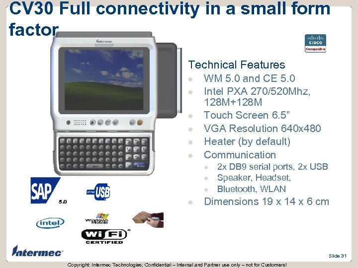 CV 30 Full connectivity in a small form factor Technical Features l l l
