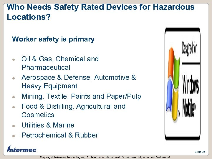 Who Needs Safety Rated Devices for Hazardous Locations? Worker safety is primary l l