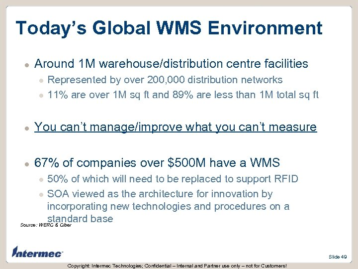 Today's Global WMS Environment l Around 1 M warehouse/distribution centre facilities l l Represented