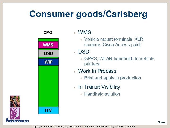 Consumer goods/Carlsberg CPG l WMS DSD l WIP l GPRS, WLAN handheld, In Vehicle