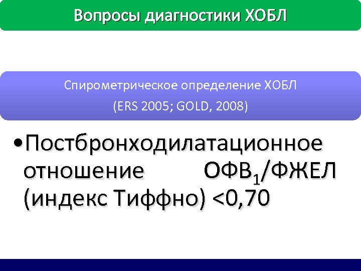 Вопросы диагностики ХОБЛ Спирометрическое определение ХОБЛ (ERS 2005; GOLD, 2008) • Постбронходилатационное отношение ОФВ