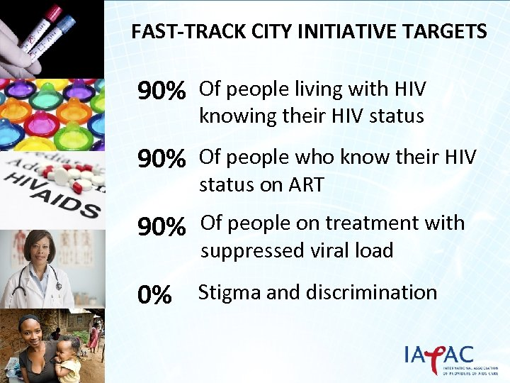 FAST-TRACK CITY INITIATIVE TARGETS 90% Of people living with HIV knowing their HIV status