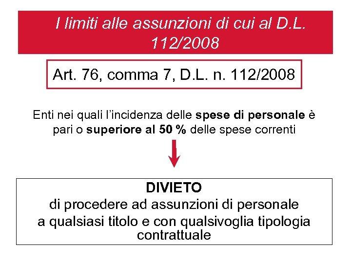 I limiti alle assunzioni di cui al D. L. 112/2008 Art. 76, comma 7,