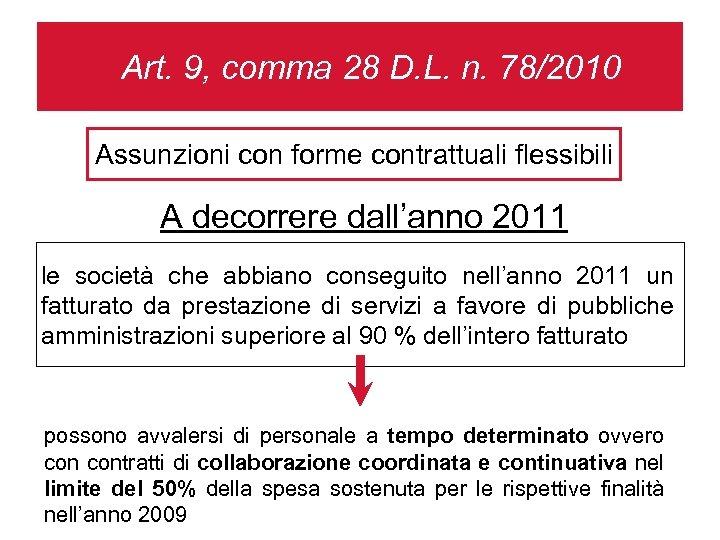 Art. 9, comma 28 D. L. n. 78/2010 Assunzioni con forme contrattuali flessibili A