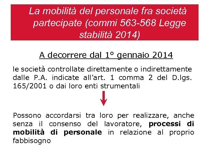 La mobilità del personale fra società partecipate (commi 563 -568 Legge stabilità 2014) A